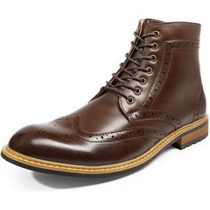 BRUNO MARC Bergen Chukka Wing Tip Leather Boots